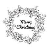 Illustration för kransblommateckning för `-dag för glad jul Arkivfoton