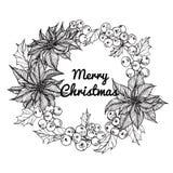 Illustration för kransblommateckning för `-dag för glad jul Royaltyfri Bild