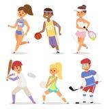 Illustration för kvinna för aktivitet för sportslig man för tecken för folk för sportwellnessvektor sportig idrotts- Vektor Illustrationer