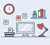 Illustration för lägenhet för kontorsskrivbord vektor illustrationer