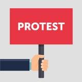 Illustration för lägenhet för tecken för handinnehavprotest Protest eller demonstration Politiskt samla begreppet Plan design vek vektor illustrationer