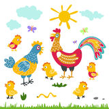 Illustration för lägenhet för tecknad film för lantgårdfågelfamilj tupphönahöna på vit bakgrund Fotografering för Bildbyråer