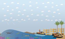 Illustration för lägenhet för vektor för strandsemesterbegrepp vektor illustrationer