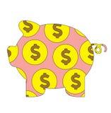 Illustration för lägenhet för vektor för tecknad film för svinsparbössabank mynt isolerad Royaltyfri Bild
