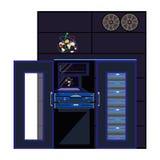 Illustration för lägenhet för kvantdatorvektor stock illustrationer