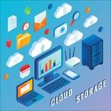 Illustration för lägenhet för molnlagringsvektor isometrisk Arkivbilder