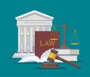 Illustration för lag- och rättvisabegreppsvektor i plan stil Designbeståndsdelar, symboler, symboler stock illustrationer