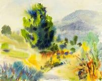 Illustration för landskapmålning som är färgrik av äng på kullen royaltyfri illustrationer