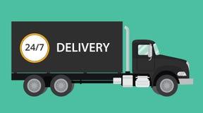 Illustration för leveranssvartlastbil royaltyfri illustrationer
