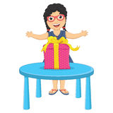 Illustration för liten flickagåvavektor vektor illustrationer