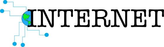Illustration för logo för internetordtext vektor illustrationer