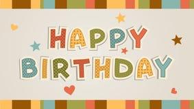 Illustration för lyckligt födelsedagkort Royaltyfri Bild