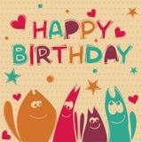 Illustration för lyckligt födelsedagkort Royaltyfri Fotografi
