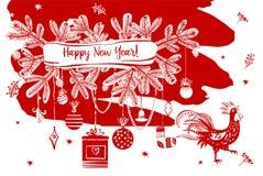 Illustration för lyckligt nytt år med konturhanen och christm stock illustrationer