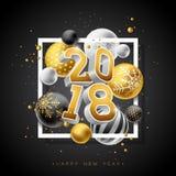 Illustration 2018 för lyckligt nytt år med nummer för guld 3d och dekorativ boll på svart bakgrund Vektorferiedesign för royaltyfri illustrationer