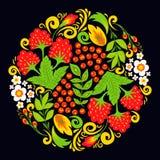 Illustration för målning för prydnad för illustration för design för vektorkhokhlomamodell traditionell Ryssland dragen etnisk royaltyfri illustrationer