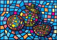 Illustration för Mangosteenfruktmoses målat glass stock illustrationer
