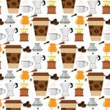 Illustration för mat för drink för textur för vektor för bakgrund för modell för kaffebryggare för kaffekopp sömlös stock illustrationer