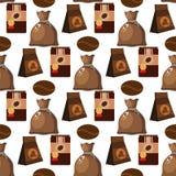 Illustration för mat för drink för textur för vektor för bakgrund för modell för kaffebryggare för kaffekopp sömlös vektor illustrationer