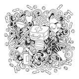 Illustration för medicin för klotter för tecknad film gullig hand dragen Sketch specificerade, stock illustrationer