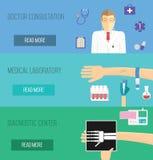 Illustration för medicinsk service Manipulera konsultation, laboratoriumanalys och den diagnostiska mitten Arkivbilder