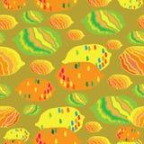 Illustration för modell för repetition för abstrakt Citron-frukt fröjd sömlös Bakgrund i gul orange rött blått och grönt stock illustrationer
