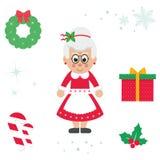 Illustration för mrs santa vektor jul för tecknad film gullig vektor illustrationer