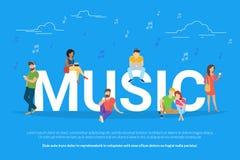 Illustration för musikbegreppsvektor av unga män och kvinnor som lyssnar till musik och att koppla av Fotografering för Bildbyråer