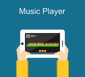 Illustration för musikspelare Plan design Manöverenhet för musikspelare på telefonskärmillustration Begrepp för massmediaspelare Arkivbilder