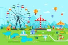 Illustration för nöjesfältvektorlägenhet på dagen med ferrishjulet, cirkusen, karusell, dragningar, landskap och staden vektor illustrationer