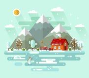 illustration för naturvinterlandskap vektor illustrationer