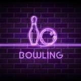 Illustration för neonbowlingvektor Glödande fortlöpande linje teckning av bowlingklot, stift på purpurfärgad bakgrund för tegelst vektor illustrationer