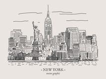 Illustration för New York tappningvektor royaltyfri illustrationer