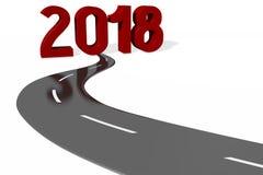 illustration för nytt år 3D 2018 Stock Illustrationer