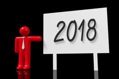 illustration för nytt år 3D 2018 Vektor Illustrationer