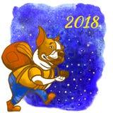 Illustration 2018 för nytt år för hund för handelsresande för fransk bulldogg turist- Hälsningkort av en hund Hemhjälphusdjur ill royaltyfri illustrationer