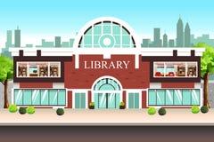 Illustration för offentligt bibliotekbyggnad vektor illustrationer