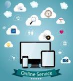 Illustration för online-tjänstbegreppsvektor royaltyfri illustrationer