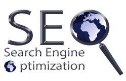 Illustration för optimization för SEO-sökandemotor Vektor Illustrationer