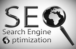 Illustration för optimization för SEO-sökandemotor Royaltyfri Illustrationer