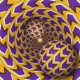 Illustration för optisk illusion Två bollar är rörande på roterande tratt stock illustrationer