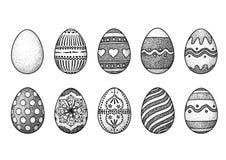 Illustration för påskägg, teckning, gravyr Vektor Illustrationer