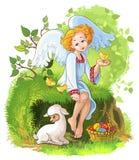 Gullig ängelflicka med påskkorgen, hönor och l Arkivbild