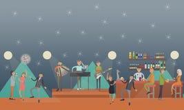 Illustration för partiklubbavektor i plan stil stock illustrationer