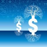 Illustration för pengarträdvektor med dollartecknet Arkivbild