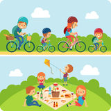 Illustration för picknickfamiljlägenhet Royaltyfri Fotografi