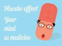 Illustration för placeboeffektvektor Medicin i åtanke Arkivbild