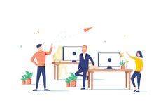 Illustration för plan stil för design för Coworking utrymme färgrik på vit bakgrund Högkvalitativ sammansättning med manligt, kvi royaltyfri illustrationer