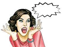 Illustration för popkonst av överraskningkvinnan med anförandebubblan fotografering för bildbyråer