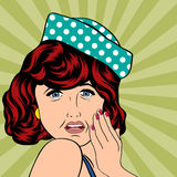 Illustration för popkonst av en ledsen kvinna Royaltyfri Foto